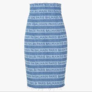 Brand new Balmain logo jean skirt